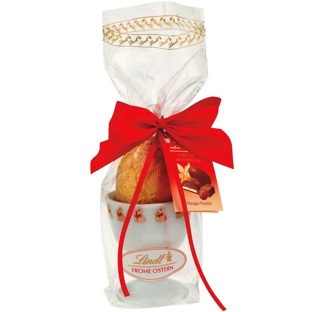 Lindt Pasteten-Ei im Porzellan-Eierbecher