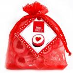 """Amore Sweets Rock Bonbons """"Herzen"""" Organzasäckchen rot 12er"""