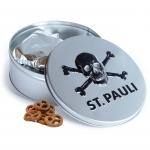 FC St. Pauli Brezeln in Milchschokolade Metalldose