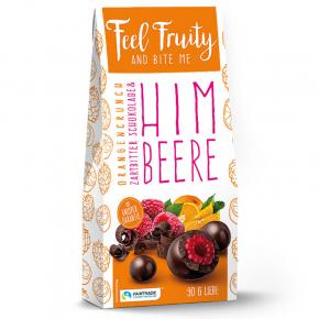 Feel Fruity Himbeere in Zartbitterschokolade mit Orangencrunch 90g