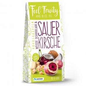 Feel Fruity Sauerkirsche in weißer Schokolade mit Kokosraspeln 90g