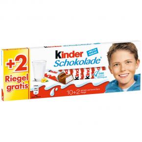 kinder Schokolade 10er + 2 gratis