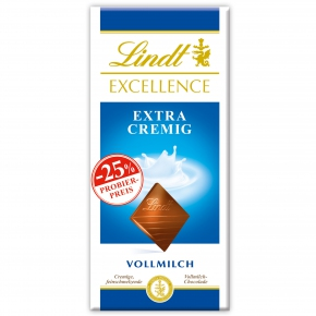 Lindt Excellence Extra cremig Vollmilch 100g Probierpreis -25%