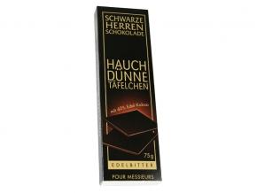 Schwarze Herren Schokolade Hauchdünne Täfelchen