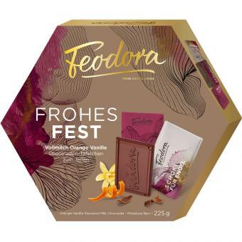 Feodora Weihnachts-Täfelchen Vollmilch-Orange-Vanille 225g