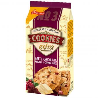 Griesson Chocolate Mountain Cookies extra White Chocolate Raisins & Cranberries 200g
