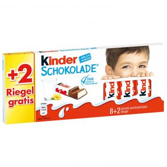 kinder Schokolade 8er + 2 Riegel gratis