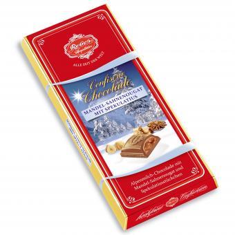 Reber Confiserie-Chocolade Mandel-Sahnenougat mit Spekulatius 100g