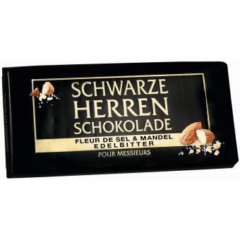 Schwarze Herren Schokolade Fleur de Sel & Mandel Edelbitter 100g