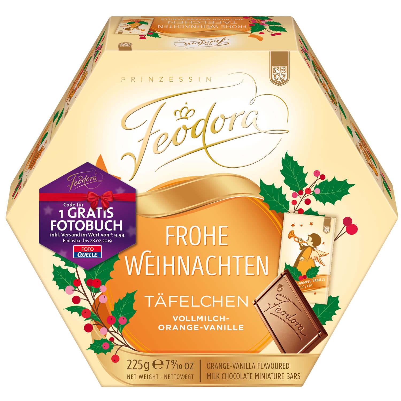 Feodora Frohe Weihnachten Täfelchen Vollmilch-Orange-Vanille 225g ...