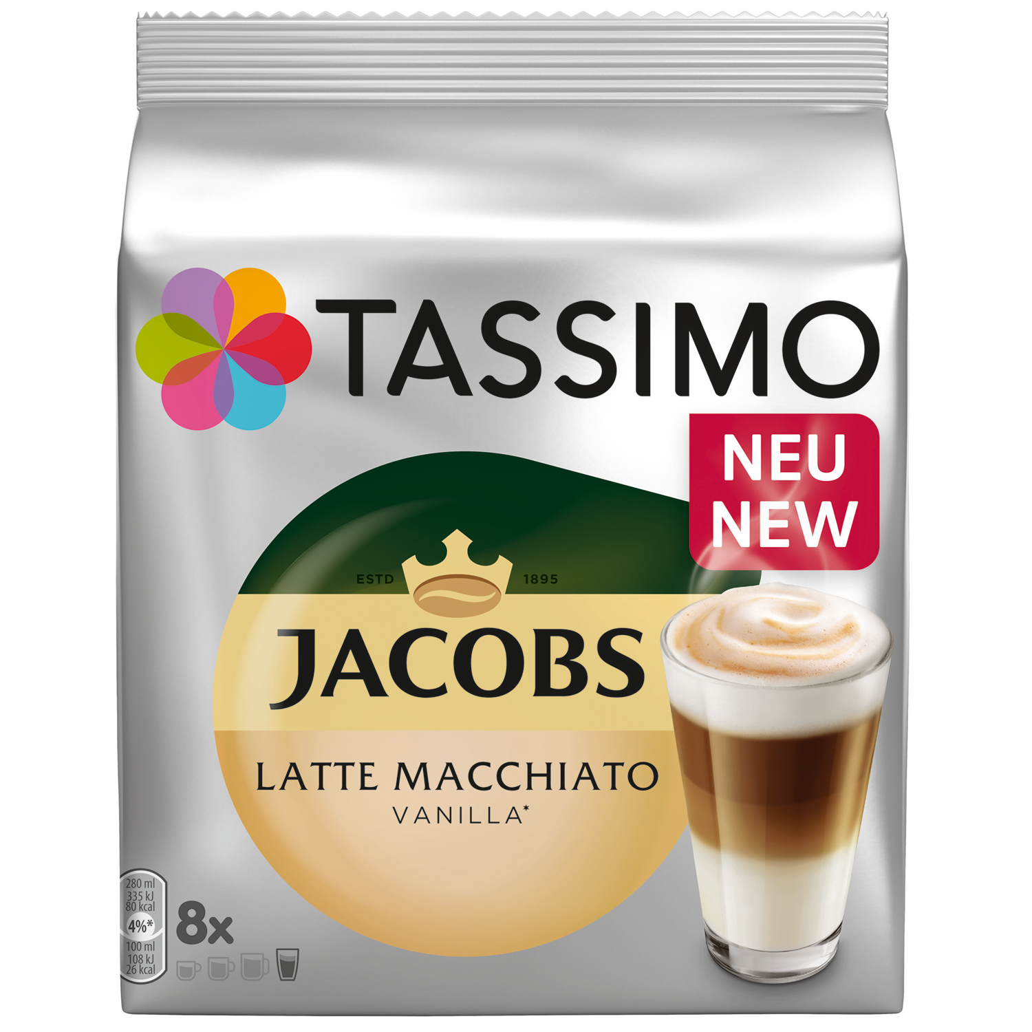 tassimo jacobs latte macchiato vanilla online kaufen im world of sweets shop. Black Bedroom Furniture Sets. Home Design Ideas