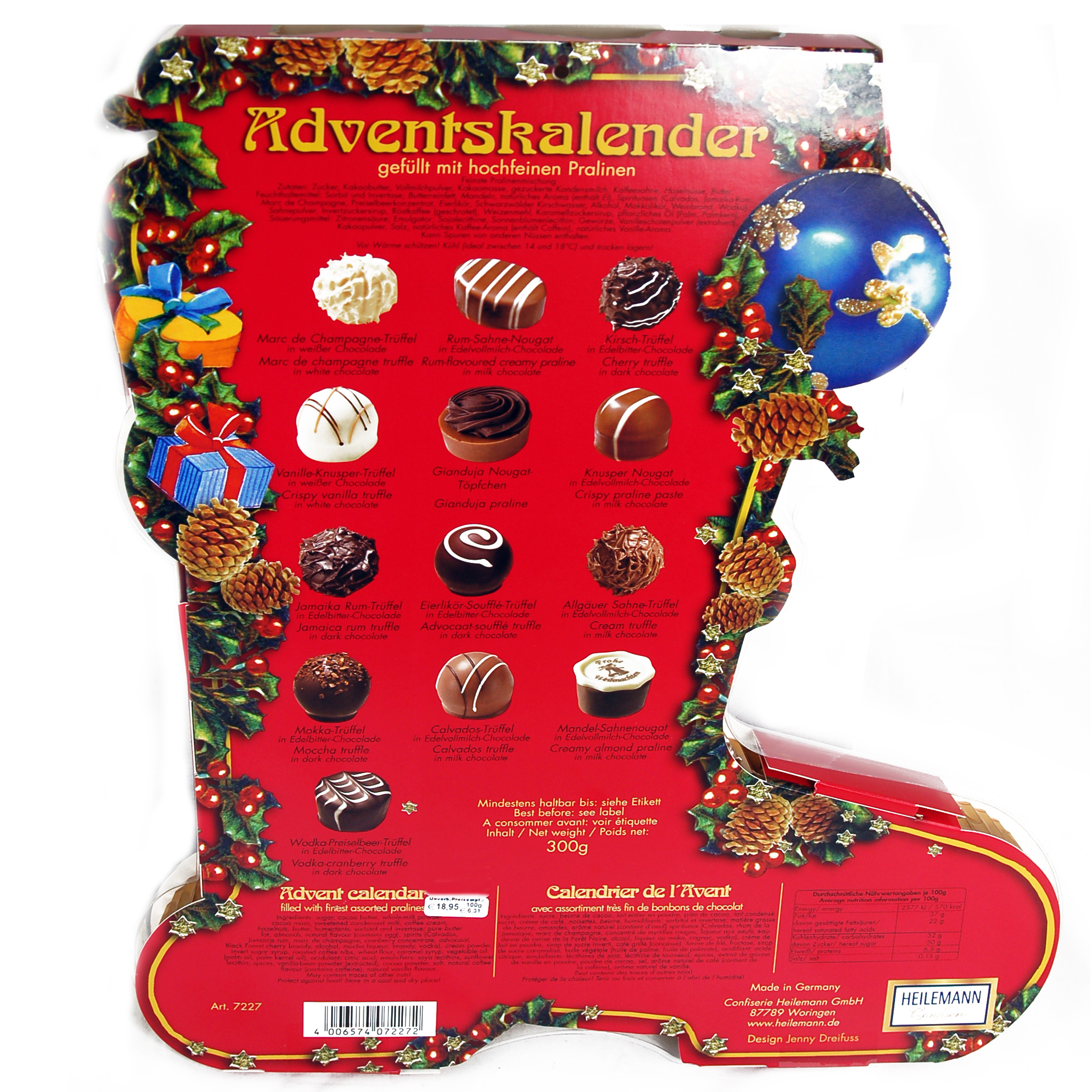 heilemann pralinen adventskalender stiefel online kaufen im world of sweets shop. Black Bedroom Furniture Sets. Home Design Ideas